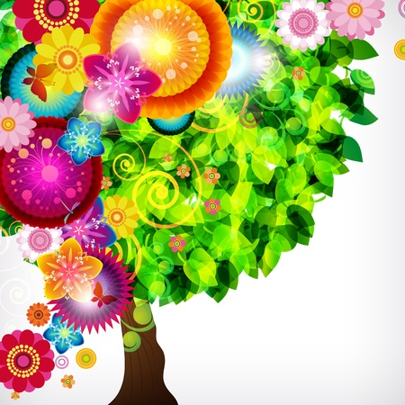 deciduous: Colorful blossom spring tree. Illustration