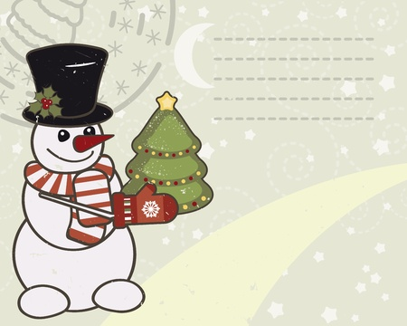 red berries: Retro Christmas card with a snowman.
