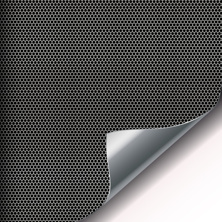 Metal mesh background with sixangled holes and curved corner. Illustration