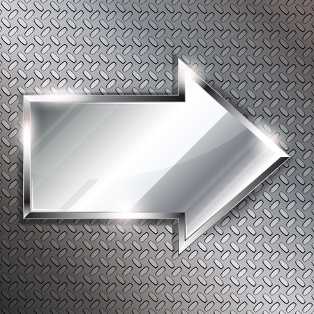 Arrow sign on a metal background.Vector illustration  Vector