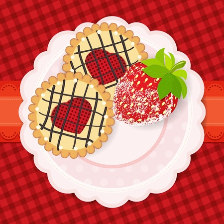 Sweet background. A couple of cookies and strawberries in sugar on the banner on the vintage plaid background. The place for your text. Vector