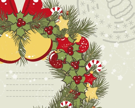 Retro Christmas background with Christmas wreath. Vector