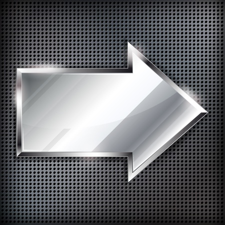 Arrow sign on a metal background. Vector