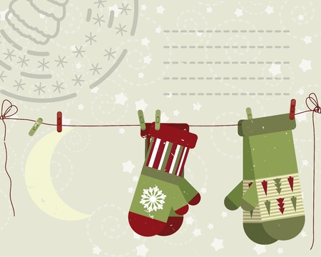 mitten: Christmas post card.