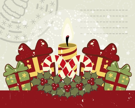 Retro Christmas background with candle. Vector
