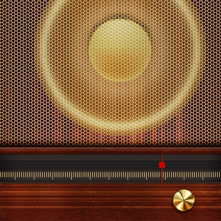 gold age: Vector music background with retro radio elements.