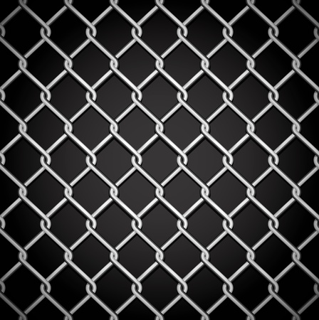 chain fence: Metal fence on a dark background. No gradient mesh. Only contours.