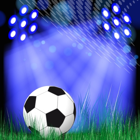soccer stadium: Soccer Ball vector background. Soccer ball in the green grass.