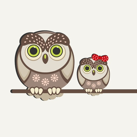 Owls birds background. Vector