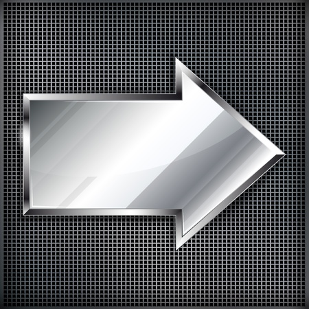 Arrow sign on a metal background.Vector illustration Stock Vector - 13555000