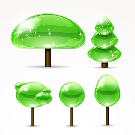 Web abstract trees. A set of glossy icons. Vector