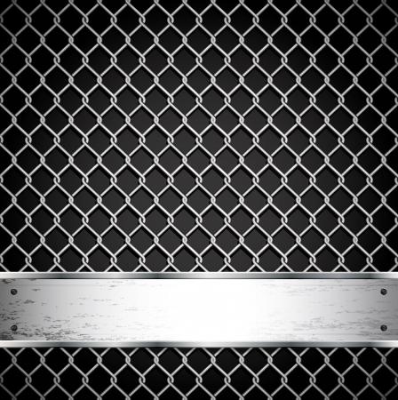 malla metalica: Valla metálica sobre un fondo oscuro. No malla de degradado. Sólo los contornos.