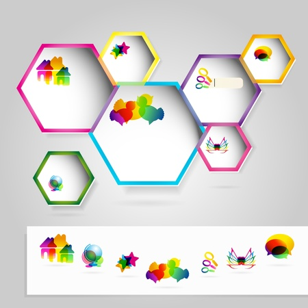 acirc: Web windows with colorful icons.