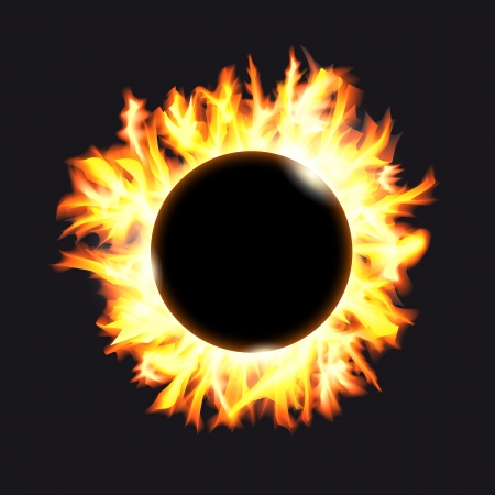 Solar eclipse. Frame of solar protuberances on a dark background. Vector