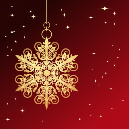 Red card with christmas snowflake illustration Stock Vector - 14349192