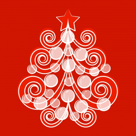 Christmas tree postcard. Vector