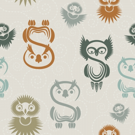 Seamless pattern with various owls on a neutral background  Vector