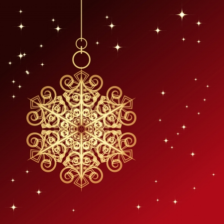 Red card with christmas snowflake Stock Vector - 14688134