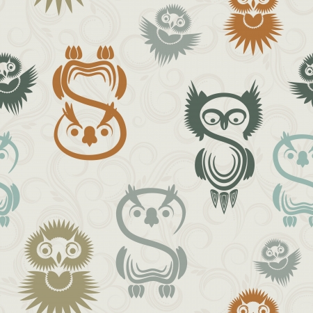 Seamless pattern with various owls on a neutral background. Vector