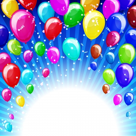 Holiday background with balloons and confetti  Vector