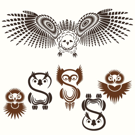 totem: Vector set of various Owls
