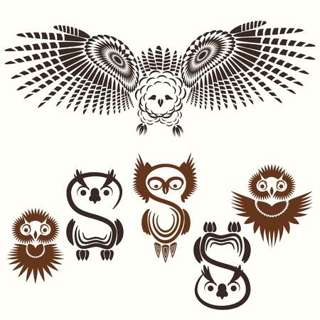 owl tattoo: Vector set of various Owls