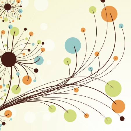 dandelion flower: Retro abstract floral backdrop.