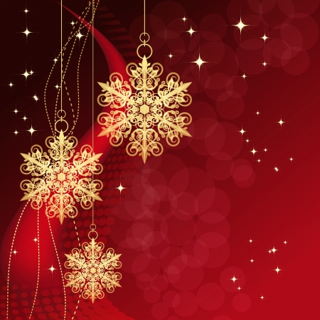 picture card: Red card with christmas snowflakes, vector illustration