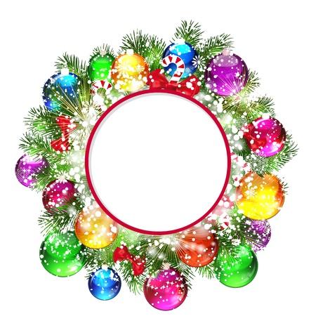 クリスマス ツリーの雪に覆われた枝とクリスマスの花輪。  イラスト・ベクター素材
