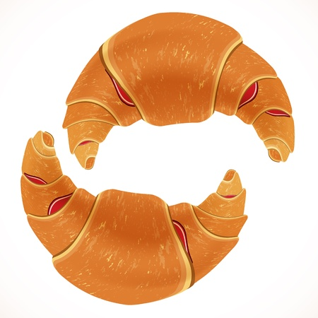 Tasty appetizing croissants. vector illustration.. Vector