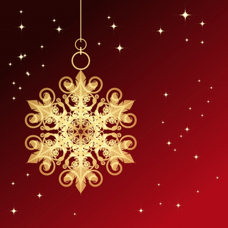 Red card with Christmas snowflake Stock Vector - 14942838