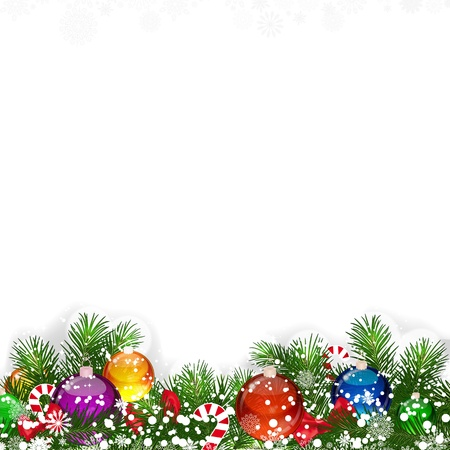 Christmas background with decorated branches of Christmas tree. Vector