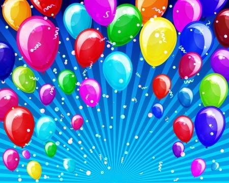 aniversario: Vacaciones de fondo con globos y confeti.