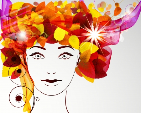 curled lip: Abstract autumn background. Beautiful womans face in a wreath of autumn leaves.