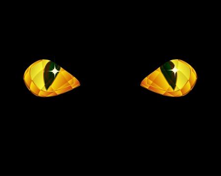 Shine yellow eyes on black background.
