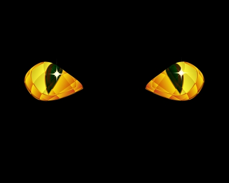 Shine yellow eyes on black background. Vector