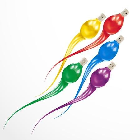 semen: Attacco USB Flash Drive. Informazioni concetto colorato isolato su sfondo bianco.