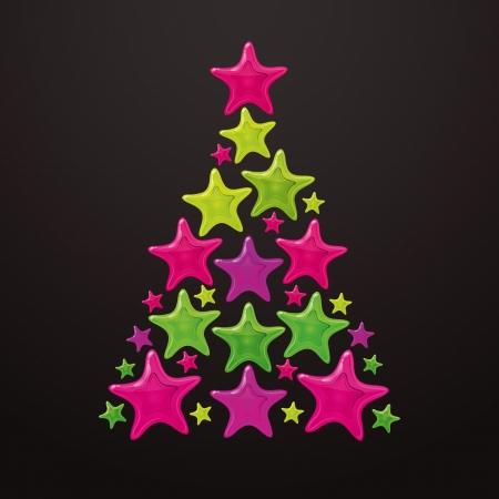 Christmas tree made of stars  Vector