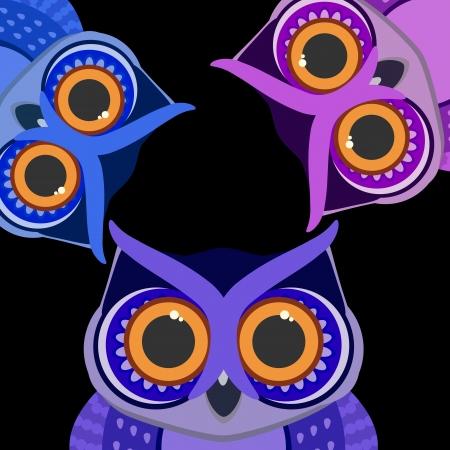 fear cartoon: Owls birds on a scrap card