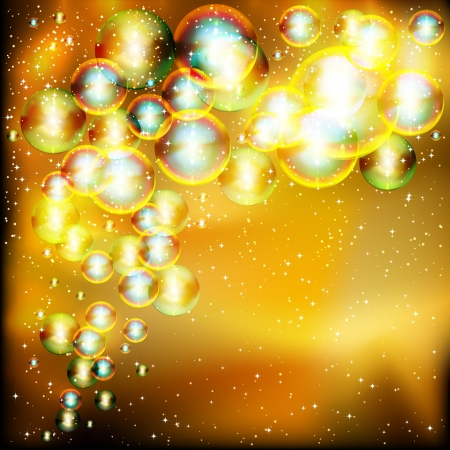Light gold abstract celebration background with twinkling soap bubbles. Vector