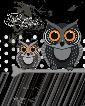 Owls birds on a scrap card.