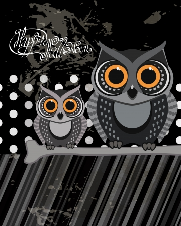 Owls birds on a scrap card.  Vector