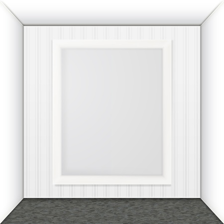 White frame on the wall.  Vector