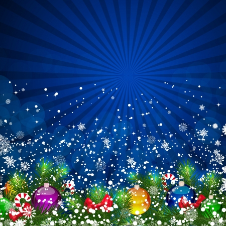 Blue Christmas Background with bright Christmas tree balls.  Vector