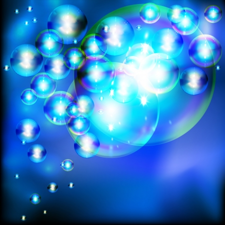 Abstract background with twinkling soap bubbles. Vector