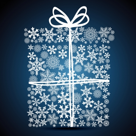 Christmas gift box, snowflake design background. Vector