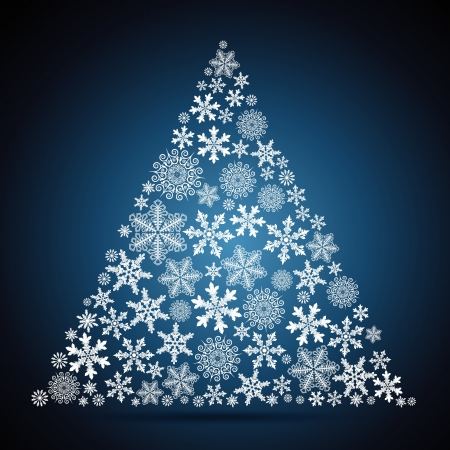 Christmas tree, snowflake design background. Vector