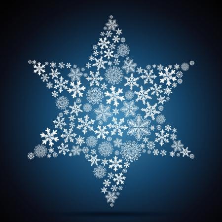 クリスマスの星、スノーフレークのデザインの背景。  イラスト・ベクター素材