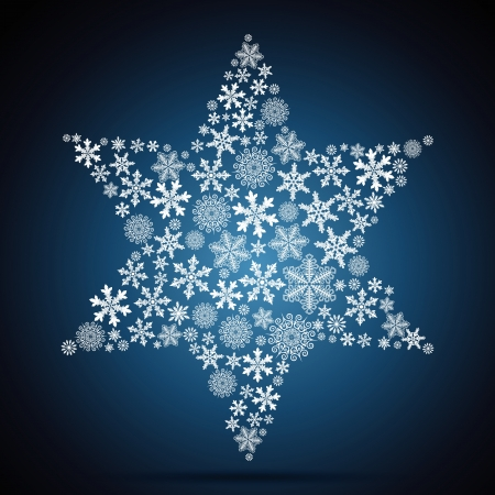 david star: Christmas star, snowflake design background.
