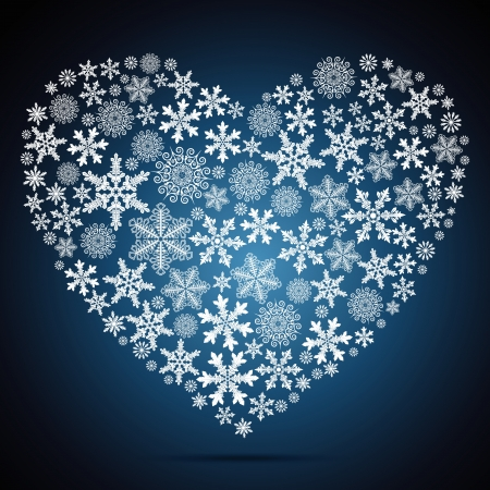 Christmas heart, snowflake design background. Vector